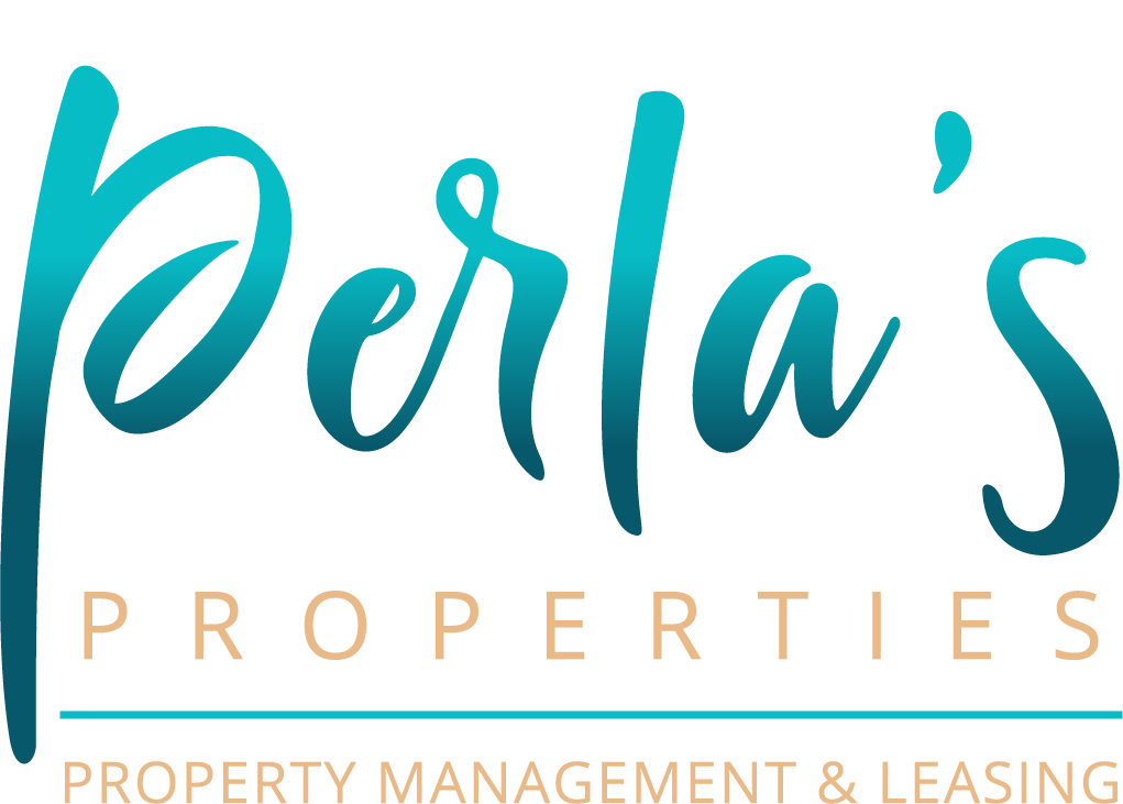 perla's properties logo with white background underline text property management and leasing